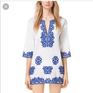 Michael Kors White & Navy Embroidered Tunic sz S
